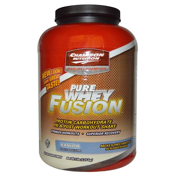 Champion Nutrition, Pure Whey Fusion, Pre & Post Workout Shake, Vanilla, 5 lbs (2.27 kg) (Discontinued Item)