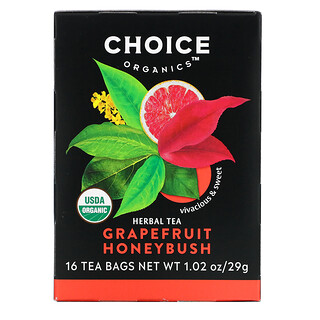 Choice Organic Teas, Herbal Tea, Grapefruit Honeybush, Caffeine Free, 16 Tea Bags, 1.02 oz (29 g)