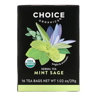 Choice Organic Teas, Herbal Tea, Mint Sage, Caffeine Free, 16 Tea Bags, 1.02 oz (29 g) Each