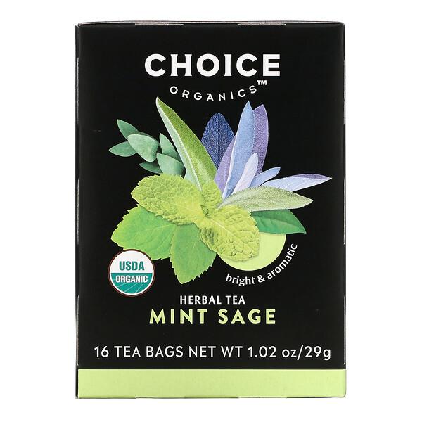 Herbal Tea, Mint Sage, Caffeine Free, 16 Tea Bags, 1.02 oz (29 g)