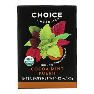 Choice Organic Teas, Puerh Tea, Cocoa Mint Puerh, 16 Tea Bags, 1.12 oz (32 g)