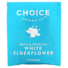 Choice Organic Teas, White & Green Tea White Elderflower, 16 Tea Bags, 0.85 oz (24 g) Each