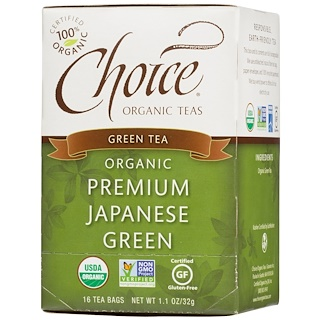 Choice Organic Teas, Green Tea, Organic, Premium Japanese Green, 16 Tea Bags, 1.1 oz (32 g)