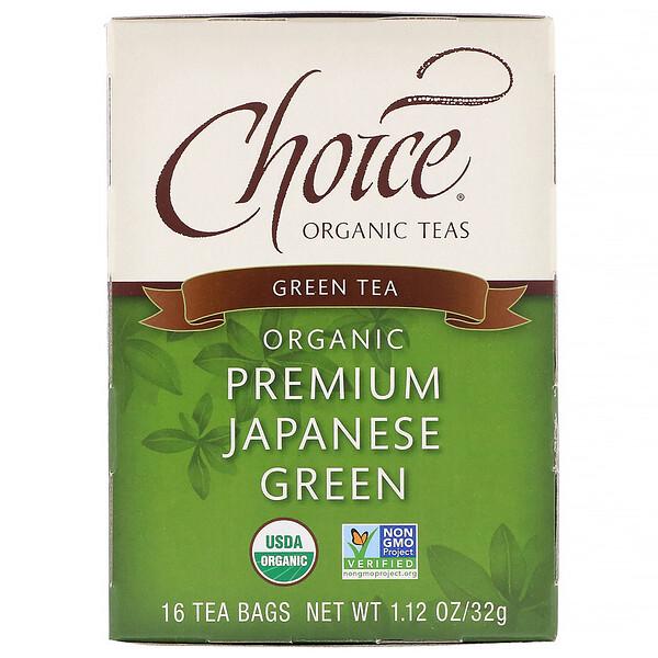Choice Organic Teas, Green Tea, Organic, Premium Japanese Green, 16 Tea Bags, 1.1 oz (32 g)