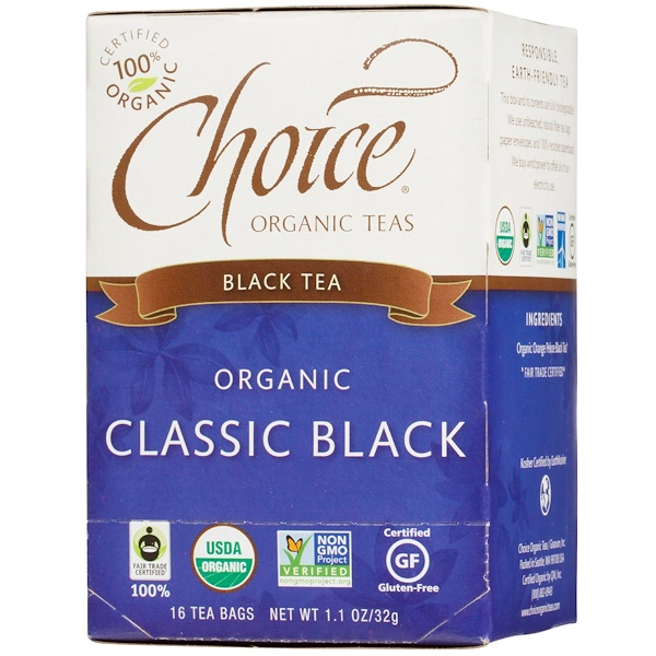 Choice Organic Teas, Black Tea, Organic, Classic Black, 16 Tea Bags, 1.1 oz (32 g) (Discontinued Item)
