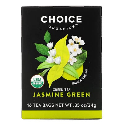 Choice Organic Teas Green Tea, Organic Jasmine Green, 16 Tea Bags, .85 oz (24 g)