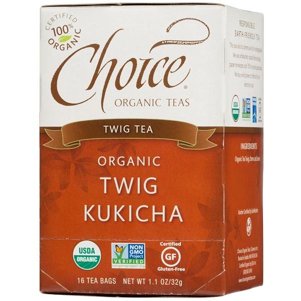 Choice Organic Teas, Twig Tea, Organic, Twig Kukicha, 16 Tea Bags, 1.1 oz (32 g)
