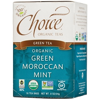 Choice Organic Teas, Green Tea, Organic, Green Moroccan Mint, 16 Tea Bags, .8 oz (24 g)
