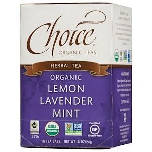 Чойс Органик Тис, Herbal Tea, Organic, Lemon Lavender Mint, Caffeine-Free, 16 Tea Bags, .8 oz (24 g) отзывы