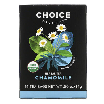Choice Organic Teas Herbal Tea, Organic Chamomile, Caffeine-Free, 16 Tea Bags, .50 oz (14 g)
