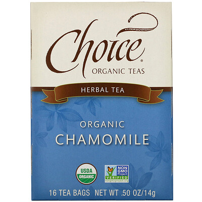 Купить Choice Organic Teas Herbal Tea, Organic Chamomile, Caffeine-Free, 16 Tea Bags, .50 oz (14 g)