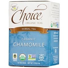 Choice Organic Teas, Herbal Tea, Organic, Chamomile, Caffeine-Free, 16 Tea Bags, .5 oz (14 g)