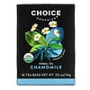 Choice Organic Teas, Herbal Tea, Organic Chamomile, Caffeine-Free, 16 Tea Bags, .50 oz (14 g)