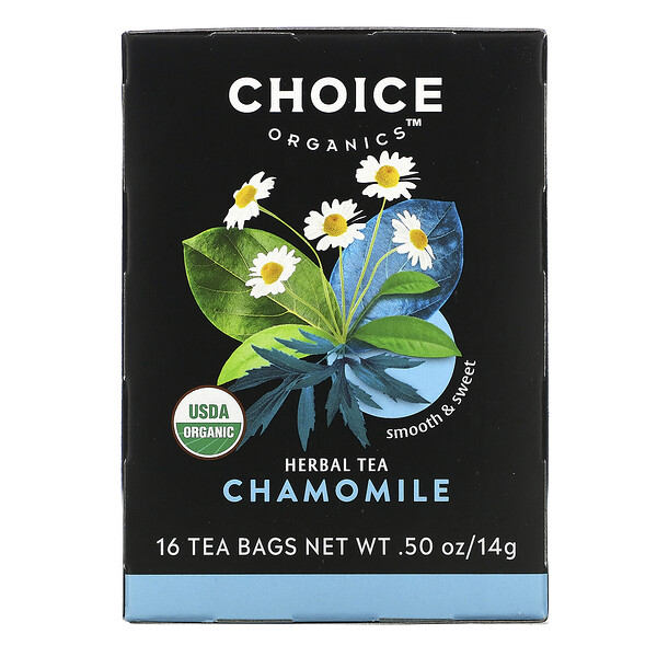 Herbal Tea, Organic Chamomile, Caffeine-Free, 16 Tea Bags, .50 oz (14 g)