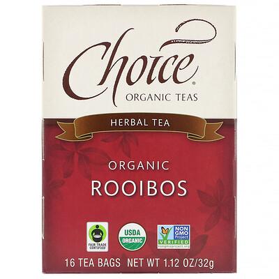Травяной чай, органический, ройбуш, без кофеина, 16 пакетиков, 1,27 унции (36 г)