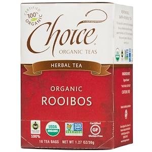 Choice Organic Teas, Травяной чай, органический, ройбуш, без кофеина, 16 пакетиков, 1,27 унции (36 г)