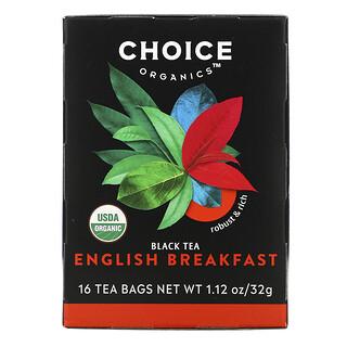 Choice Organic Teas, Black Tea, English Breakfast, 16 Tea Bags, 1.12 oz (32 g)