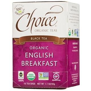 Choice Organic Teas, 유기농, 잉글리쉬 블렉퍼스트, 16개입, 1.1 온스 (32g)