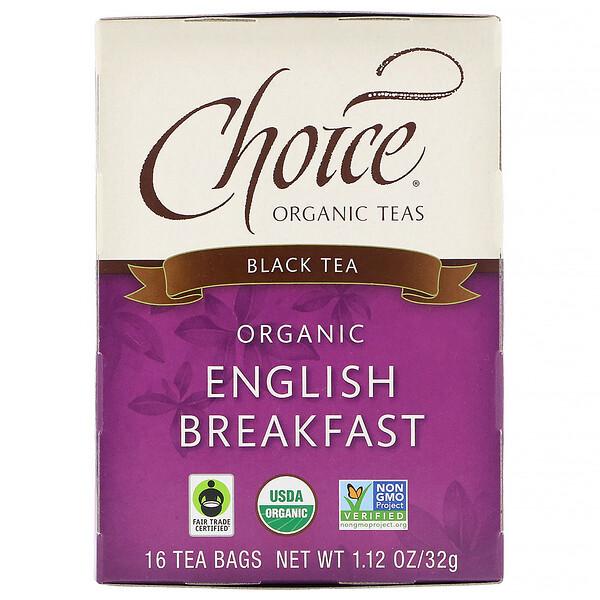 Black Tea, Organic English Breakfast, 16 Tea Bags, 1.12 oz (32 g)