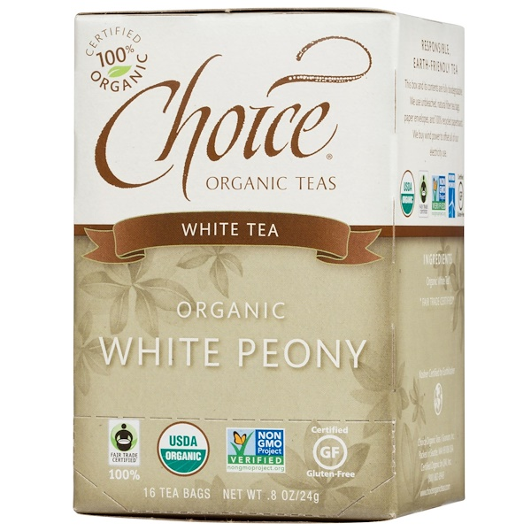 Choice Organic Teas, White Tea, Organic, White Peony, 16 Tea Bags, .8 oz (24 g) (Discontinued Item)