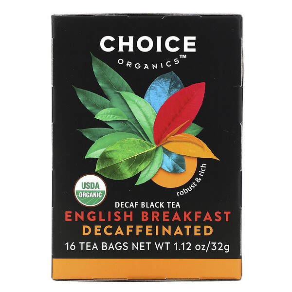Choice Organic Teas, Decaf Black Tea,  Decaffeinated English Breakfast, 16 Tea Bags, 1.12 oz (32 g)