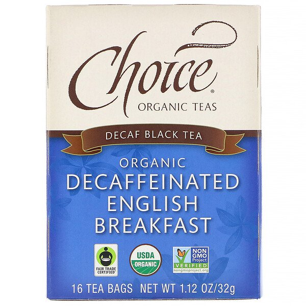 Black Tea, Organic Decaffeinated English Breakfast, Decaf, 16 Tea Bags, 1.12 oz (32 g)