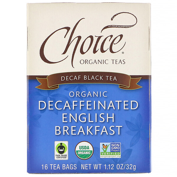Choice Organic Teas, Organic Decaffeinated English Breakfast, Decaf Black Tea , 16 Tea Bags, 1.12 oz (32 g)