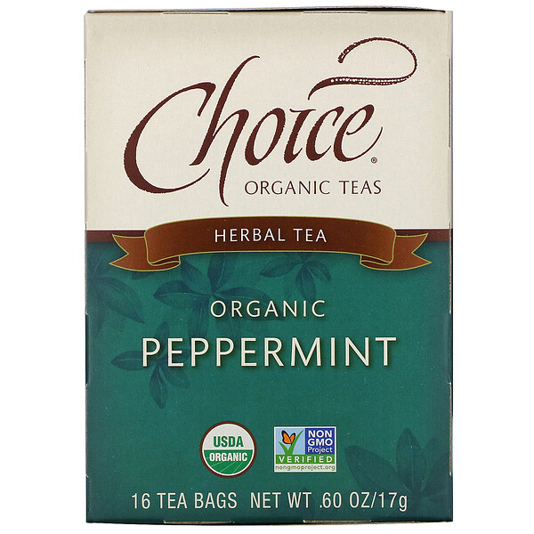 Herbal Tea, Organic Peppermint, Caffeine-Free, 16 Tea Bags, .60 oz (17 g)