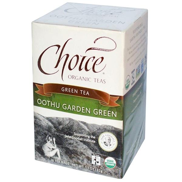 Choice Organic Teas, Oothu Garden Green Tea, 16 Tea Bags, 1.1 oz (32 g) (Discontinued Item)