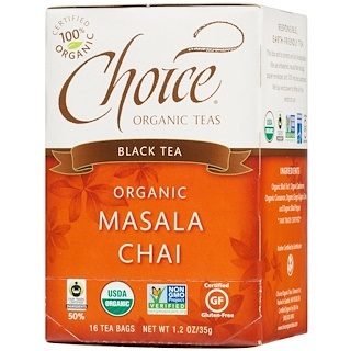Choice Organic Teas, 홍차, 유기농 마살라 차, 16 티백, 1.2 온스 (35g)