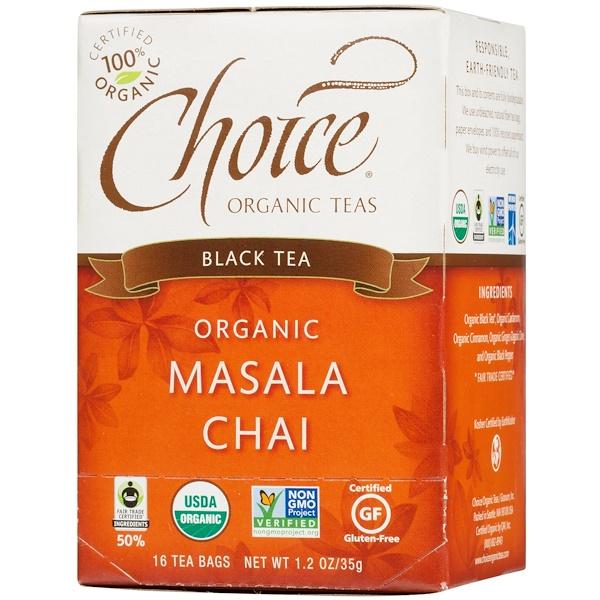 Choice Organic Teas, Black Tea, Organic, Masala Chai, 16 Tea Bags, 1.2 oz (35 g) (Discontinued Item)