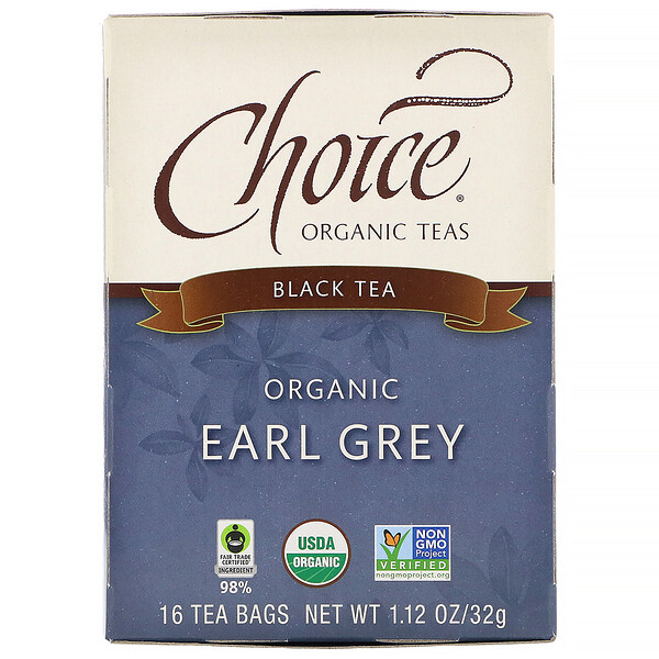 Choice Organic Teas, Organic Earl Grey, Black Tea, 16 Tea Bags, 1.12 oz (32 g)