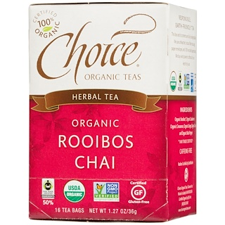 Choice Organic Teas, Herbal Tea, Organic, Rooibos Chai, Caffeine-Free, 16 Tea Bags, 1.27 oz (36 g)