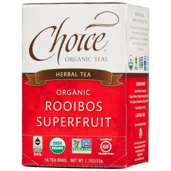 Choice Organic Teas, Травяной чай, органический суперфрукт ройбуш, без кофеина, 16 чайных пакетиков, 1,1 унции (32 г) (Discontinued Item)