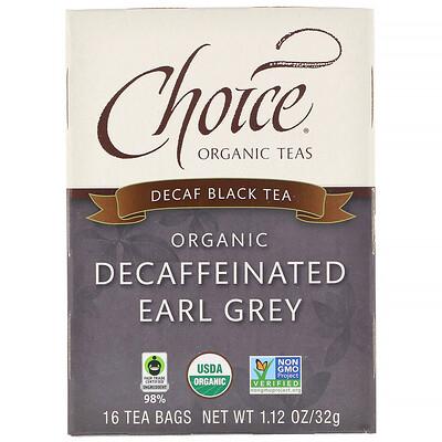 Органический чай Эрл Грей без кофеина, черный чай без кофеина, 16 пакетиков, 1,1 унции (32 г)