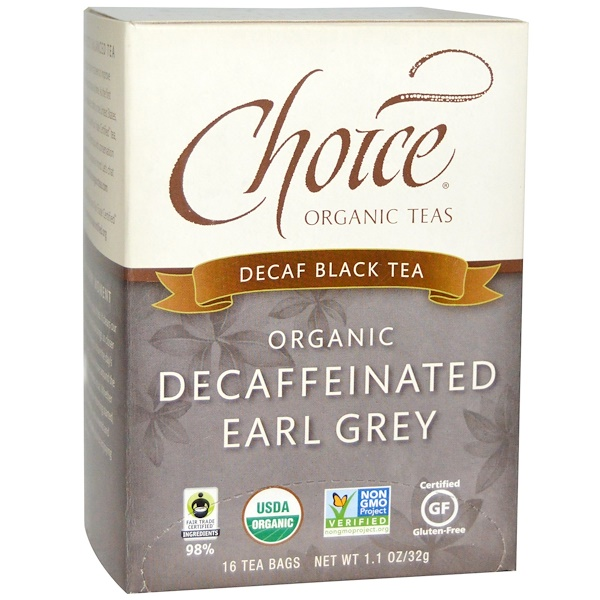 Choice Organic Teas, 유기농 디카페인 얼그레이, 디카페인 홍차, 16개입, 1.1 온스 (32g)