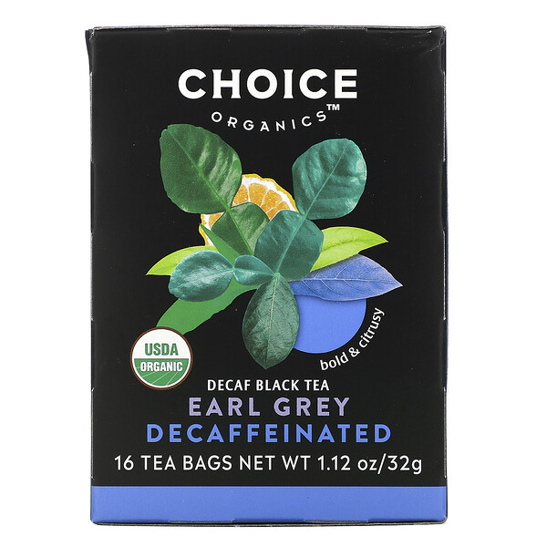 Choice Organic Teas, Black Tea, Organic Decaffeinated Earl Grey, Decaf, 16 Tea Bags, 1.12 oz (32 g)