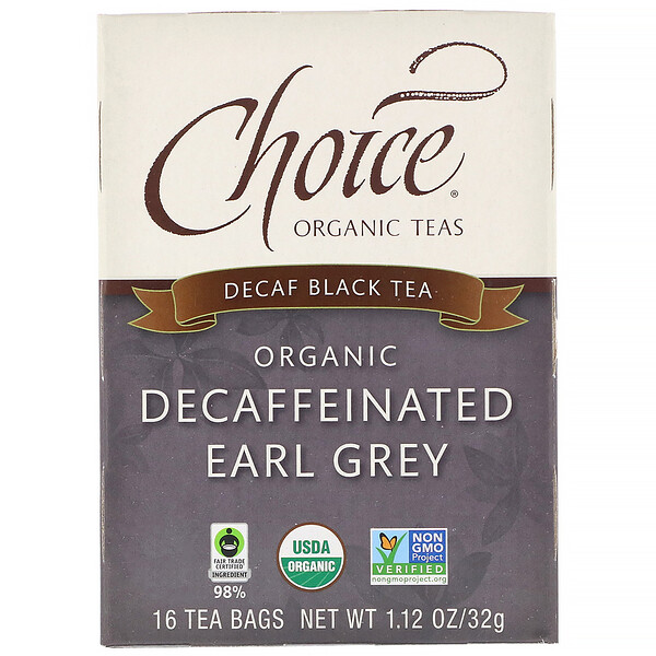 Choice Organic Teas, Organic Decaffeinated Earl Grey, Decaf Black Tea, 16 Tea Bags, 1.12 oz (32 g)