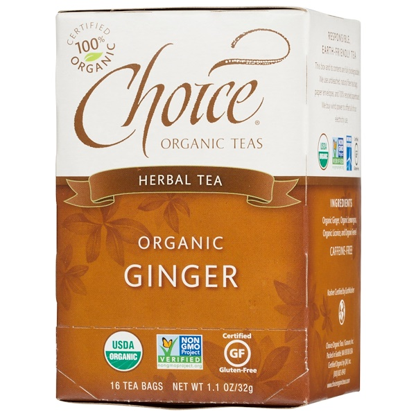 Choice Organic Teas, Herbal Tea, Ginger, Caffeine Free, 16 Tea Bags, 1.1 oz (32 g) (Discontinued Item)