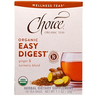 Choice Organic Teas, Wellness Teas, Organic, Easy Digest, Caffeine Free, 16 Tea Bags, 1.1 oz (32 g)