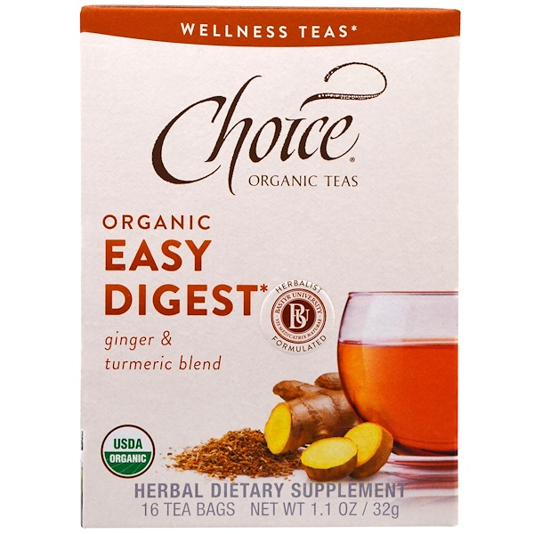 Choice Organic Teas, Organic Easy Digest, Ginger & Turmeric Blend, Caffeine Free, 16 Tea Bags, 1.1 oz (32 g)
