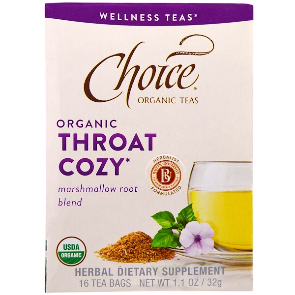 Choice Organic Teas, Wellness Teas, Organic, Throat Cozy, 16 Tea Bags, 1.1 oz (32 g)