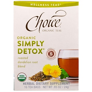 Чойс Органик Тис, Wellness Teas, Organic, Simply Detox, 16 Tea Bags, 0.85 oz (24 g) отзывы