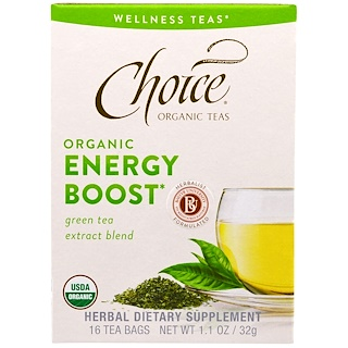Choice Organic Teas, Wellness Teas, Organic, Energy Boost, 16 Tea Bags, .07 oz (2 g)