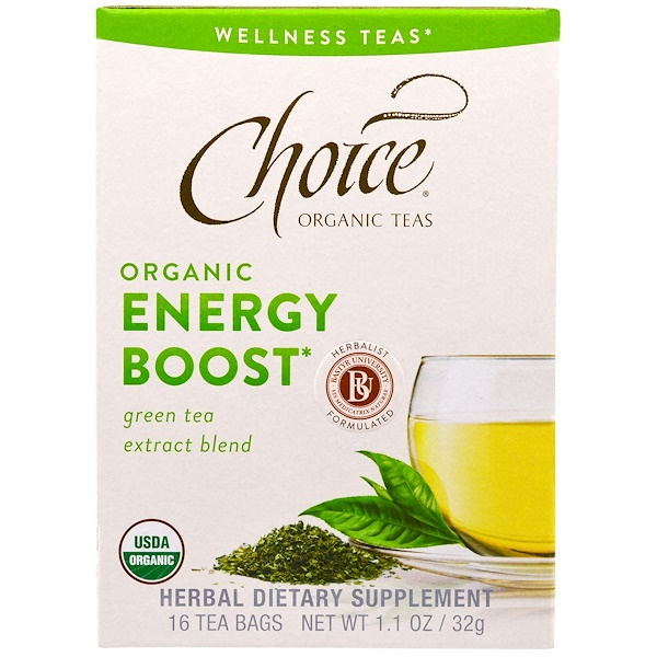 Choice Organic Teas, Wellness Teas, Organic, Energy Boost, 16 Tea Bags, .07 oz (2 g) (Discontinued Item)