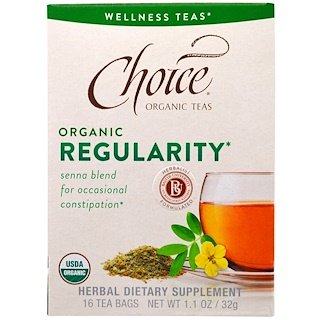 Choice Organic Teas, Wellness Teas, Organic, Regularity, 16 Tea Bags, 1.1 oz (32 g)