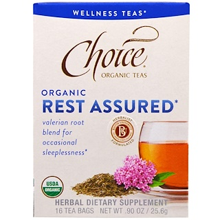 Choice Organic Teas, Wellness Teas, Organic, Rest Assured , 16 Tea Bags, 0.90 oz (25.6 g)