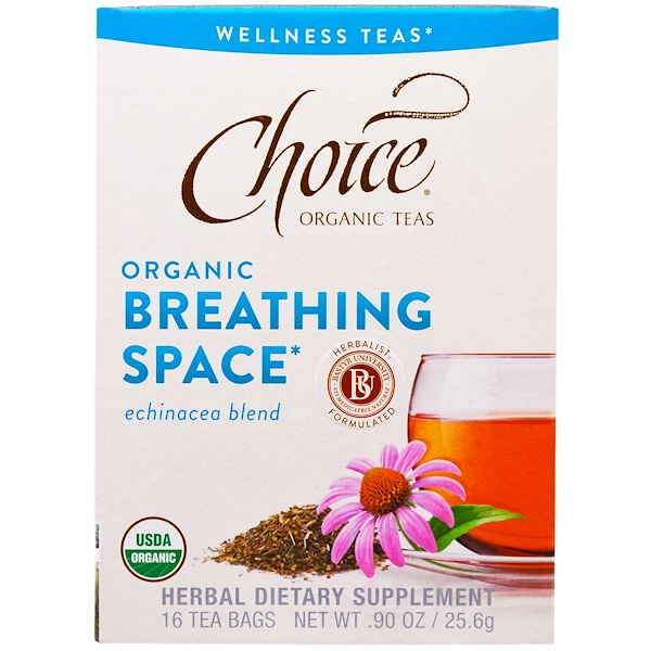 Choice Organic Teas, オーガニックブリージングスペース , エキナシアブレンド, ノンカフェイン, 16袋, 90オンス (25.6 g) (Discontinued Item)