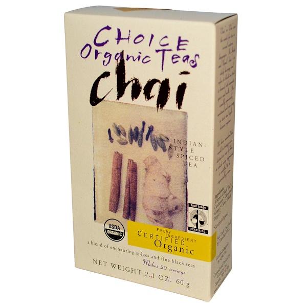 Choice Organic Teas, Organic, Chai, Indian Style Spiced Tea, 2.1 oz (60 g) (Discontinued Item)