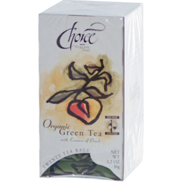 Choice Organic Teas, Green Tea with Essence of Peach, 20 Tea Bags, 1.2 oz (36 g) (Discontinued Item)